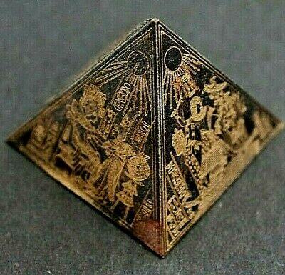 UNUSUAL SMALL METAL PYRAMID With EGYPTIAN MARKINGS • 5£