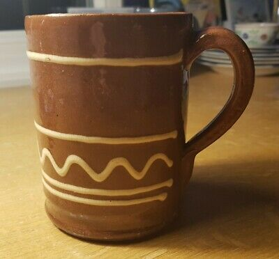 Antique Ewenny Claypits Welsh Slipware, Beer / Cryw Tankard Country Pottery • 10£