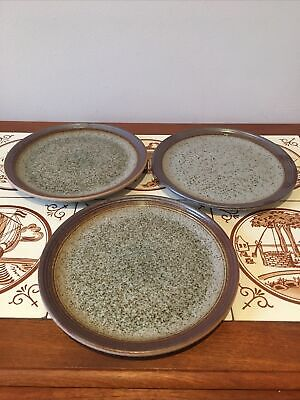 """3 X Side Plates Vintage 1970s Purbeck Pottery Portland Earthenware 7"""" Diameter • 12£"""