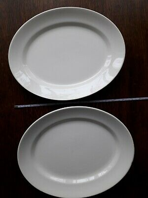 Pair Swinnertons Staffordshire Large Oval Serving Dishes 13  X 10  White • 5£