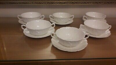 6 X Coalport Countryware Bone China Two Handle Soup Cups And Saucers  • 90£