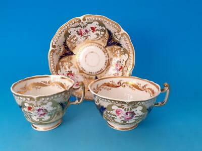 Coalport Trio, 2 Cups & Saucer Batwing Handle, Hand Painted Roses, Gold Gild • 42£