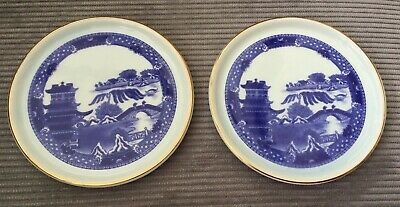 Vintage Pair Of Wade Blue & White Willow Pattern Coasters Made For Ringtons • 6.90£