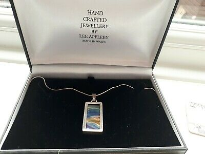 John Ditchfield Art Glass Pendant Set In Silver By Lee Appleby Sunset Colours  • 125£