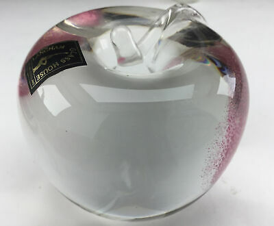 Langham Glass Apple Paperweight, Pink And Clear Glass ,with Label ,perfect • 10£