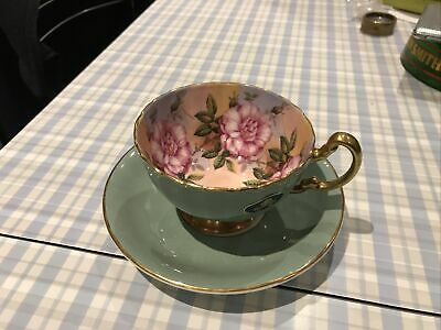 AYNSLEY CHINA CABBAGE ROSE 1031 FOOTED TEA CUP & SAUCER GREEN Vg • 50£