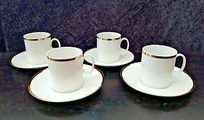 Thomas Germany White And Gold Tea Cups And Saucers X 4 • 19.99£