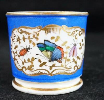 Antique Chamberlains Worcester Miniature Porcelain Mug Butterfly Insects • 49.99£