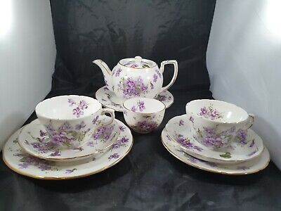 Hammersley Victorian Violets Teaset For Two With Teapot ~ 9 Pieces  • 100£