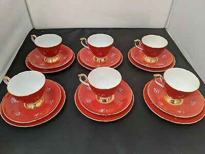 Vintage HM Sutherland Bright Red White Flowers 6x Trios: Cup, Saucer, Cake Plate • 22.99£