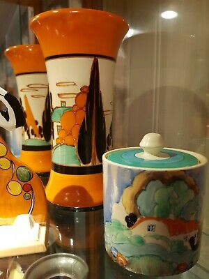 Clarice Cliff Trees And House In Excellent Condition Displayed In A Cabinet Only • 1,150£