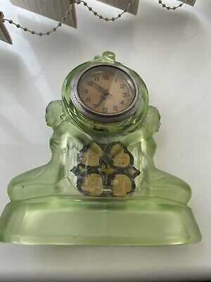 Walther And Sohne Art Deco Green Glass Clock Matching Vases • 120£