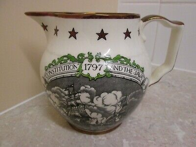 VINTAGE GRAY'S POTTERY  LUSTRE JUG - CONSTITUTION & THE JAVA 1797 - 1950's • 14.99£