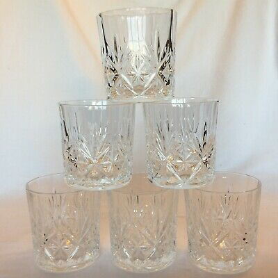 Vintage Set Of 6 Cut Glass Crystal Whiskey Tumbeler - All Perfect • 30£