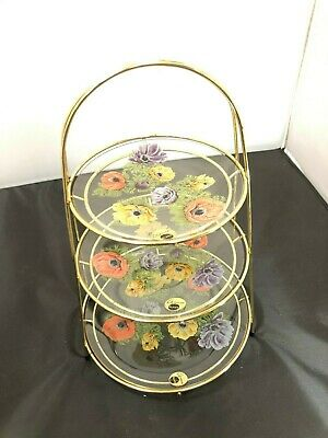 Vintage Chance Glass Three Tiered Cake Stand With Anemones 02-20 #BEB • 14.34£