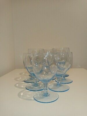 9 Pretty Vintage Sapphire Blue Glasses With Optically Moulded Bowls • 6.99£