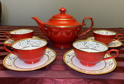 🔥 Teavana Exclusive Hand Finished Bone China Tea Set Pot Cups Saucers Red Gold • 147.32£