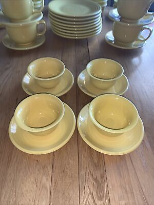 Homer Laughlin Fiesta Tableware 4 Yellow Small Bowls & Saucers, Great Condition! • 10£
