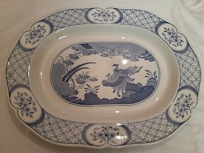 Blue And White Oval Meat Plate • 10£