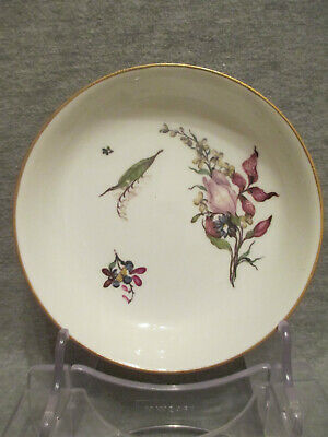 Meissen Porcelain Saucer With Woodcut Flowers And Inventory Number. Early 1700's • 195£