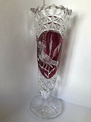 Vintage Bohemian Hofbauer Lead Crystal Ruby Vase With Bird Design. • 9£