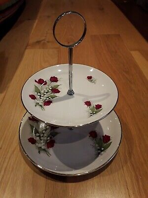 Swinnertons 2 Tier Cake Stand Roses Lily Of The Valley • 10£