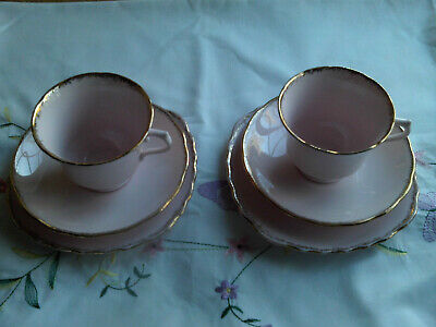 Vintage Royal Vale Bone China Pink And Gold 2 Trios • 11.99£