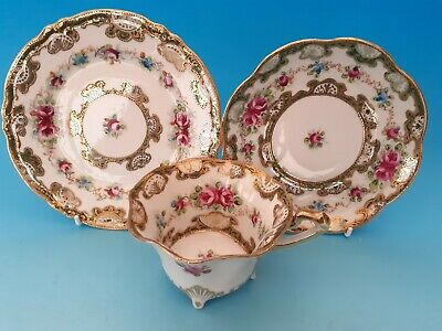 Superb Noritake Style Trio - Hand Painted Roses & Jewelled Beaded Gilding #2 • 30£