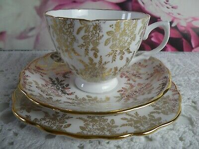 Vintage Royal Vale , Gold Chintz Trio,  Very Good Condition • 7.50£