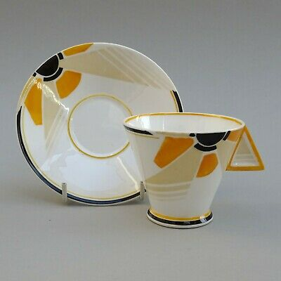 Shelley Art Deco Coffee Cup & Saucer ~ Sunray Vogue ~ VGC ~ 1930's Duo • 145£