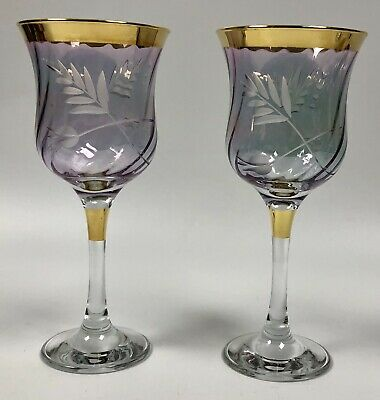 Iridescent Blue Purple Etched Glass Wine Stems Goblets Gold Trim • 55.25£