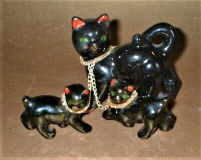 ANTIQUE VINTAGE 1930's LUCKY BLACK CAT & KITTENS SET OF 3 FIGURES WITH COLLARS • 29.99£