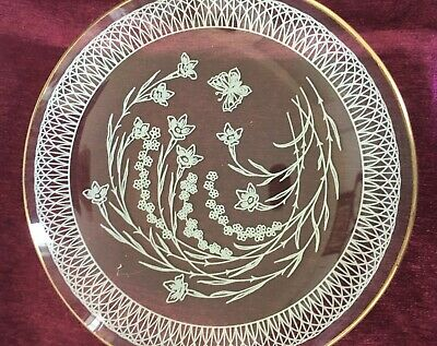 Vintage Chance Glass Round White Floral Lace Design Plate • 8£
