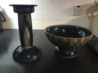 Jersey Pottery Bowl And Candle Stick • 10£