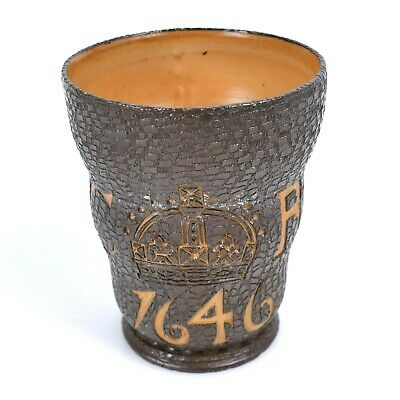 Interesting Doulton & Slater Lambeth Beaker With C R, A Crown And Dated 1646 |80 • 15£