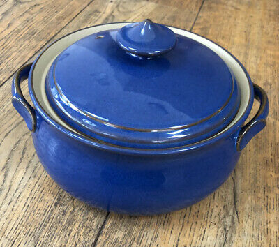 DENBY IMPERIAL BLUE STONEWARE LIDDED CASSEROLE DISH TUREEN In Great Condition • 26£
