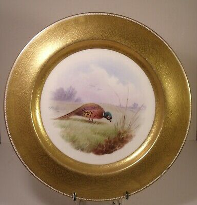 Stunning Minton Tiffany Hand Painted Heavily Gilded Pheasant Cabinet Plate Dean • 149.99£
