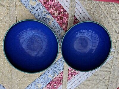 2 Denby Metz (navy/green) Soup / Cereal Bowls • 16£