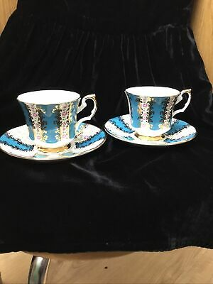 Staffordshire Elizabethan Regency Cup And Saucer Pair, Hand Decorated, Fine Bone • 8£