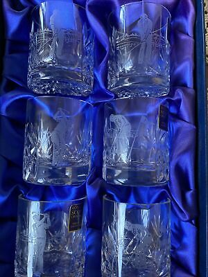 Royal Scot Crystal Hand Cut Glasses Boxed In Blue Silk 6 - Golf Design • 16.80£