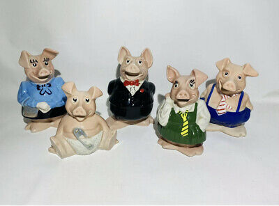 NATWEST PIGS FULL SET OF 5 PIGGY BANKS WADE WITH STOPPERS - Owned From New! • 75£