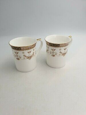 Vintage Queen's Fine Bone China Classic Olde England Mugs Floral Gilt - Pair • 15.99£