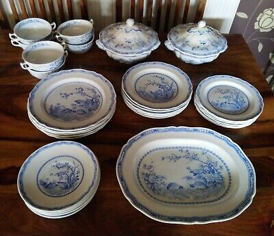 Antique Furnivals Blue And White  Quail  33 Piece Dinner Set 1913 • 225£