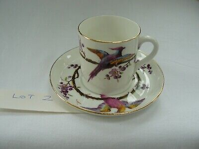 Antique Wileman Foley Asiatic Pheasants English Bone China Coffee Cup & Saucer#2 • 24.99£