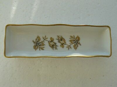 Coimbra SP Portugal Small Oblong China Pin Tray/dish Gold & Floral Design C1980s • 12.99£