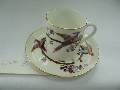 Antique Wileman Foley Asiatic Pheasants English Bone China Coffee Cup & Saucer#3 • 24.99£