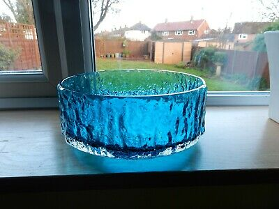 Whitefriars Glass Pattern 9687 Large Textured Bark Fruit Bowl Kingfisher  A/F • 19.99£