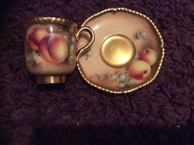Royal Worcester Fruit Hand Painted Coffee Cup And Saucer • 225£