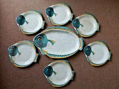 Vintage Burleigh Ware Fish Shaped Plates ~ 6 Plates And 1 Platter • 50£
