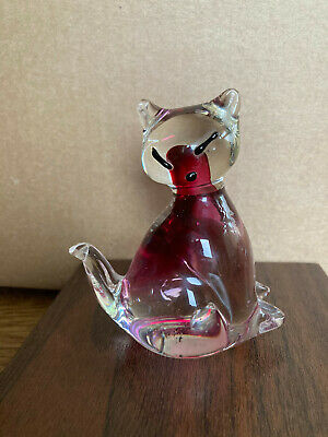 Shudehill Giftware Glass Pink Pussy Cat Valentines Gift Ornament Paperweight • 5£